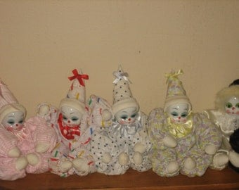 LOW SHIPPING Collection Shelf Clowns, SET, Porcelain Heads, Collection, Mint Condition, *Clearance*