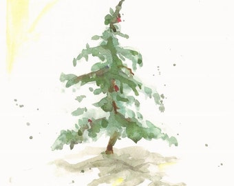 """Fir in Snow III, holiday watercolor print, 8"""" x 10"""""""