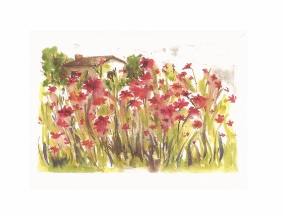 """Cottage Visit, Print of Watercolor Painting, 8""""x10"""""""