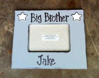 "5x7 grey ""Big Brother"" frame accented with white stars."