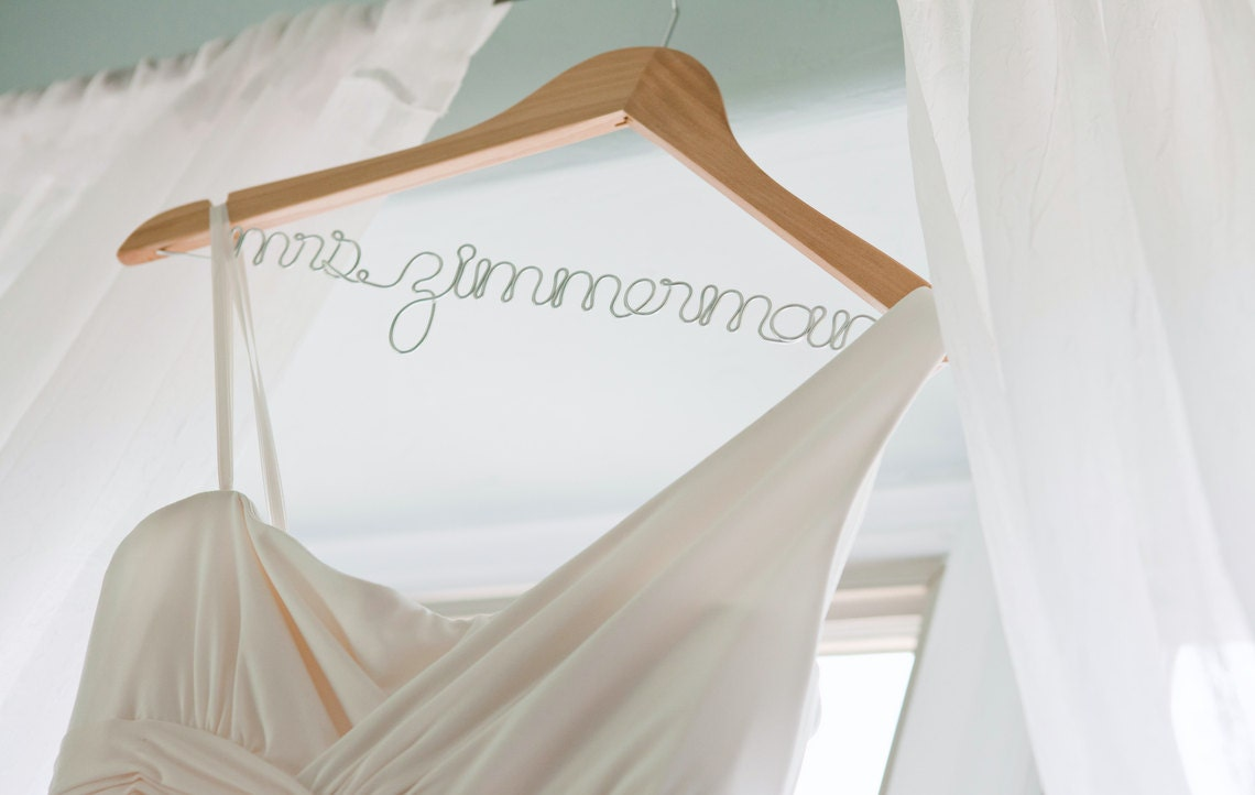 Personalized wedding dress hanger with wire for brides bridal for Personalized wire wedding dress hanger