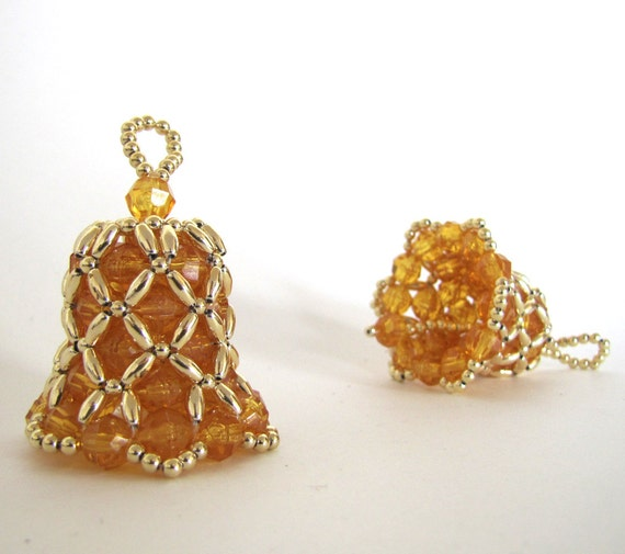 bell beaded ornament sungold yellow with by creativetradition