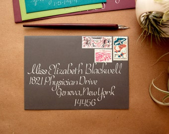 Wedding Calligraphy - Elegant Charcoal and Silver Envelope Addressing