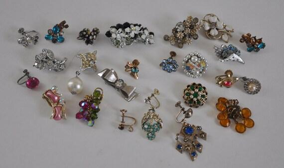 Lot: 24 Assorted Single Rhinestone Earrings for Repurpose Repair