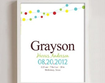 Personalized Birth print wall art - 8x10 print