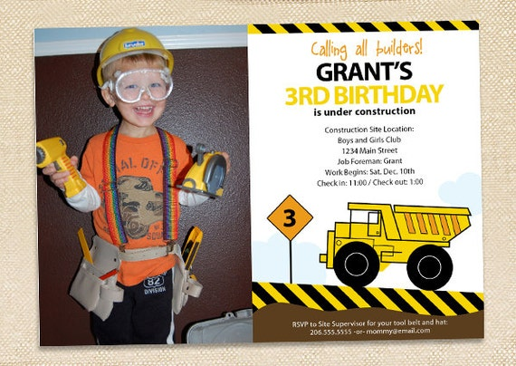 Construction Birthday Invitation - digital file
