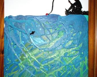 Young Boy Fishing Crayon Painting