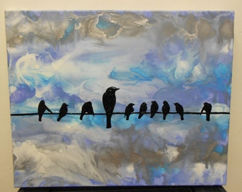 Birds on the Wire Melted Crayon Painting