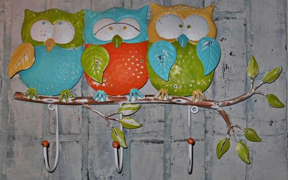 Whimsical Owl Hook / Coat Rack / Bright Wall Hook / Nursery / Owl Hook / Metal Wall Hook / Towel Hook