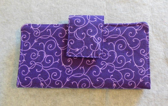 Fabric Wallet - Purple Swirls
