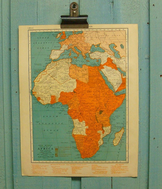 Africa Vintage 1940s Atlas Map Illustration - Turquoise Map of Africa