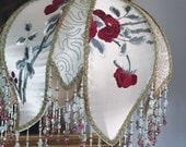 1920s Tole Bridge Lamp with Silk Embroidered Hand-Beaded Shade - Vintage - EXQUISITE