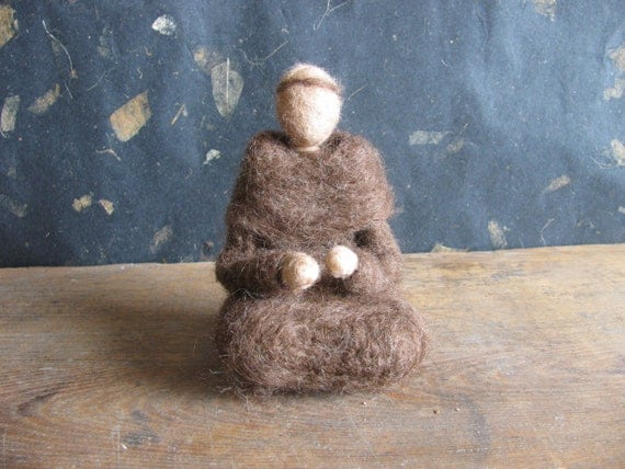 St. Francis of Assisi, or Franciscan Monk, a needle-felted wool sculpture