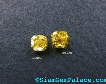 Natural YELLOW DiAMOND. CONFLiCT-FRee. Mined in Australia. Cushion. Fancy Intense Yellow. Vs2. 1 pc. 0.15 cts. 2.70x2.80mm  (Dia240)