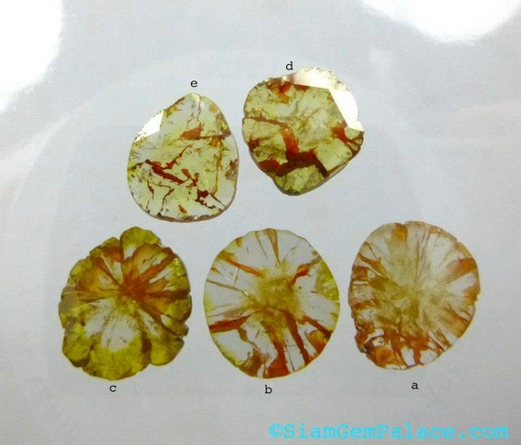 DiAMOND SLiCES. Faceted. Natural. Red / Orange Inclusions on White / Yellow Body. Free Form. 1 pc. 0.35 cts. 6.6x7.8mm (DIA223C)