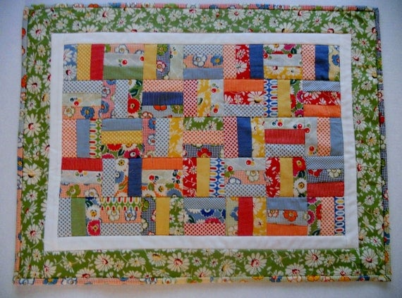 Retro Quilted Table Runner Scrappy Patchwork Rail Fence