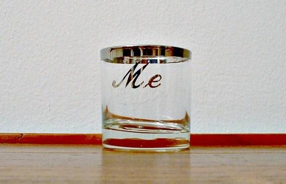 Vintage Silver Rim Banded Rocks Glass Me Mad Men MCM