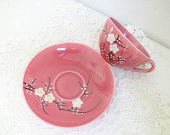 Floral Red High Tea Cup & Saucer //