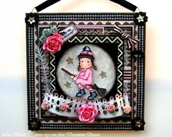 Halloween, Decor & Party, Home Decor, Card Keepsake, Handmade Wall Decor, Kids Name Sign, Wall Art, Magnolia Tilda, Witch