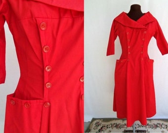 Vintage 50s Dress Red Nautical Sailor  Size XS or S
