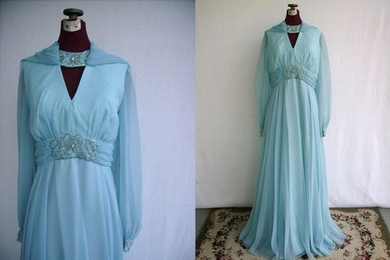 Vintage 60's Evening Gown Formal Blue Chiffon Rhinestone