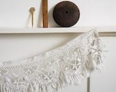 Vintage crochet fringed valance or trim in white