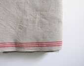 Vintage oatmeal mangle cloth use for runner for table or to cut into torchon or tea towel in thick linen red stripes