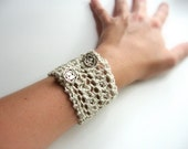 Organic Women's Cuff Bracelet in Neutral with Rose Buttons, Women's Winter Fashion Accessories
