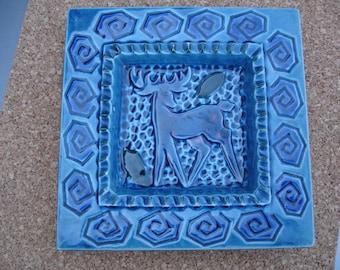 Vintage blue glaze dish with deer design