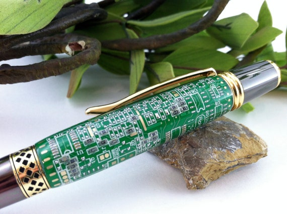 Inner Geek - Circuit Board Hand-Crafted Inlay Pen - Free Engraving