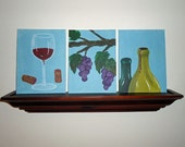 Wine Themed Original Artwork-3 canvas panels