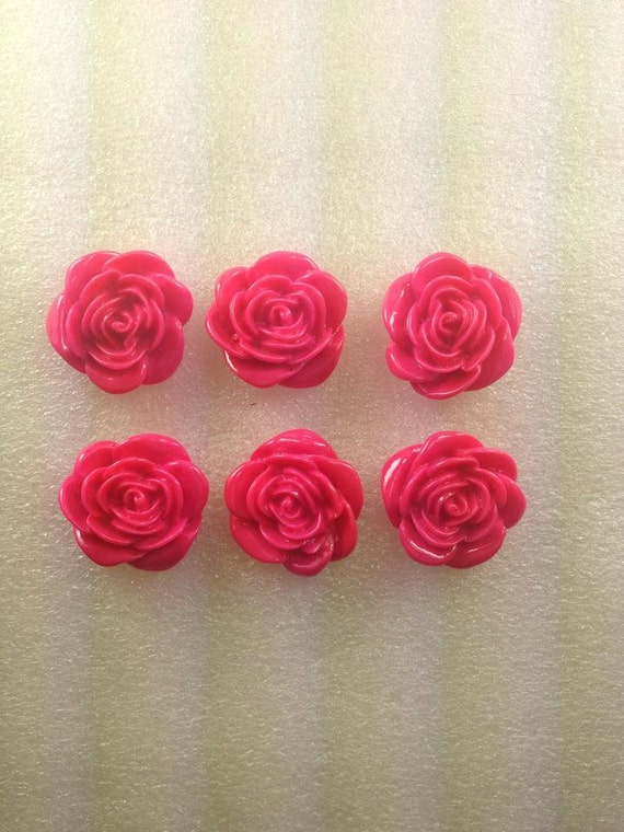 HoT PiNk FLoWeRs 20mM Kawaii Flatback Resin Cabochon 6 pieces USA SHIPPING....50% oFF WiTh CoUPoN