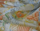 QUILT VINTAGE CHENILLE Shabby Chic Throw Creamcicle Delight