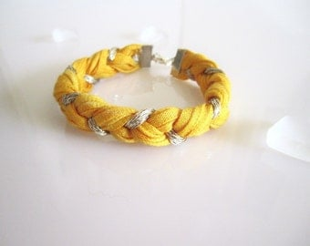 Mellow Yellow Summer Bracelet - Tshirt Yarn Bracelet - Braided Bracelet - Eco Friendly - Dyed Recycled Yarn with Silver Gold Sparkle Yarn