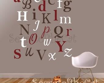 Alphabet wall decal - Children fonts decal - Nursery decal - monogram decal - wall art - wall sticker