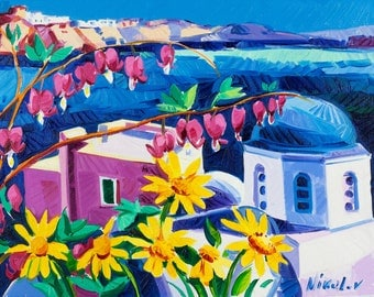 Original Oil Painting-Santorini with flowers 13x10 in Landscape Painting Original Art Impressionistic OIl on Canvas by Ivailo Nikolov
