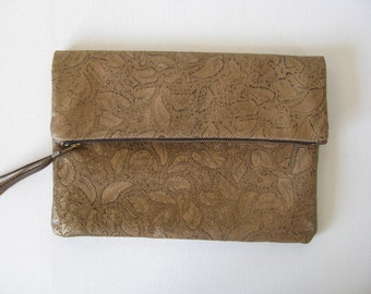 Large Fold Over Clutch Bag / Cosmetic Bag / Hand Bag -- Metallic Gold Embossed/Tooled Leather