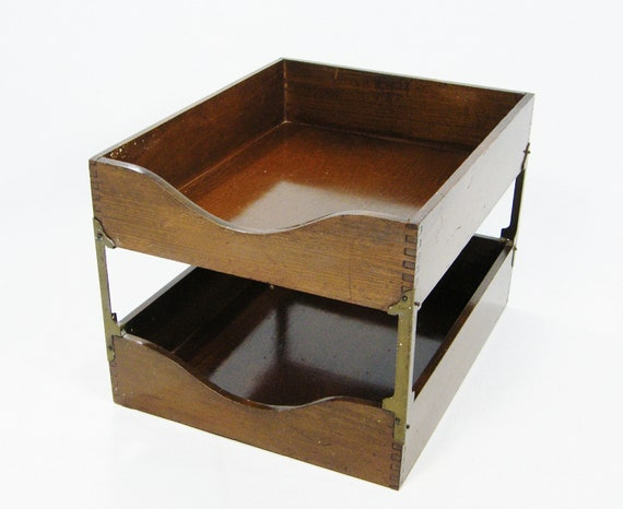 Vintage Wooden desk file tray In Out