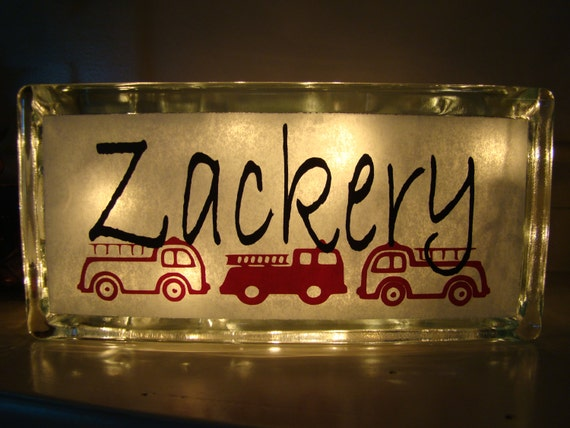 Boys Glass Block Night Light Fire Trucks Customize