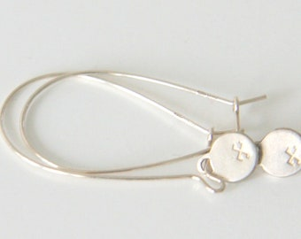 Handstamped earrings- sterling silver 925 - 2,2cm or 4,5cm long hoop- protects and attracts all the good in life - MOON sign