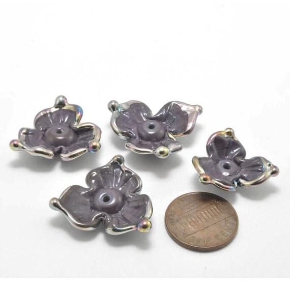 Purple Clovers : Handmade Lampwork Beads (4)