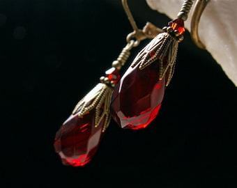 Dark Blood Red Crystal Teardrop Dangle Steampunk Earrings Antiqued Gold Bronze Filigree Titanic Temptations Vintage Victorian Bridal Jewelry