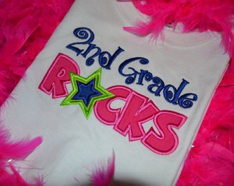 2nd Grade Rocks Applique t-shirt