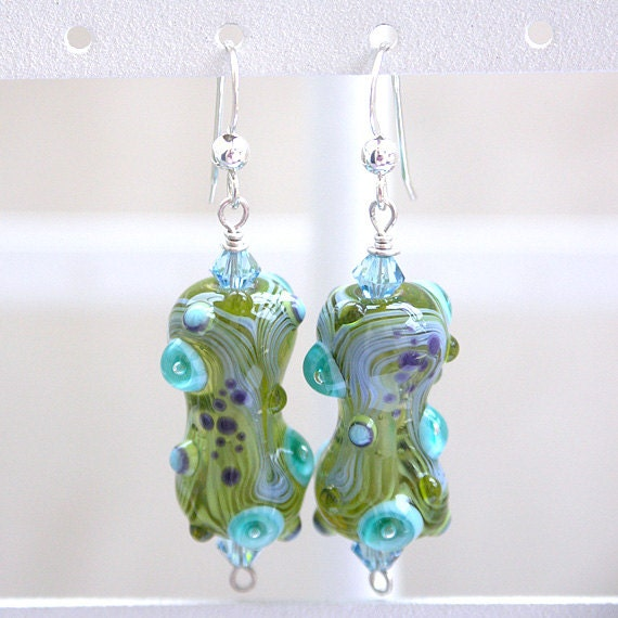 Glass Earrings in Lime, Olive, Aqua and Purple - Handmade Lampwork and Sterling Silver