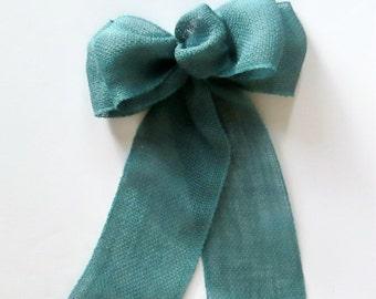 Burlap Pew Bows in Blue, Set of 4 Blue Burlap Wreath Bows, Blue Burlap Pew Bows