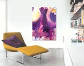 """SALE - Large Abstract Acrylic Painting Original Fine Art 24""""x36"""" by Linnea Heide - purple yellow white contemporary"""