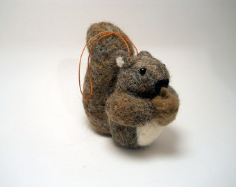 Squirrel Ornament - Felted Christmas Ornament - Needle Felted Squirrel - Felted Animal