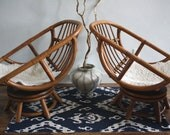 Vintage Bamboo Swivel Egg Chairs, Boho Chic, Set of 2 Rattan