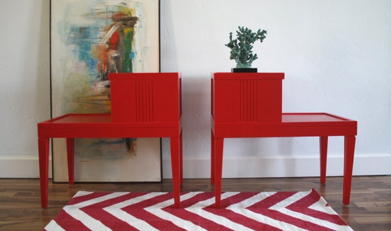 Mid Century Modern Side / End Tables, Persimmon Set of 2
