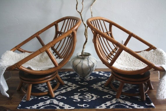 Vintage Bamboo Swivel Egg Chairs Boho Chic Set Of 2 Rattan
